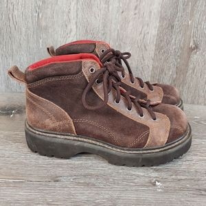 Vtg. America Eagle Brown Chunky Lace up ankleBoots